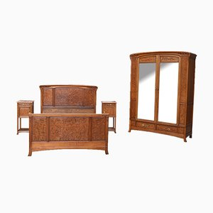 Art Nouveau Carved Bedroom Set Attributed to Louis Majorelle, Set of 4