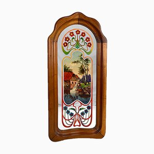 Art Nouveau Mirror with Bucolic Painted Scene, 1900s
