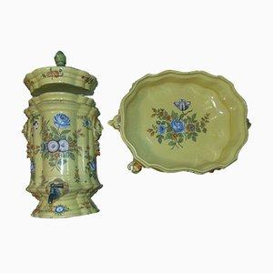 Art Deco Ceramic Water Container & Bowl, Set of 2