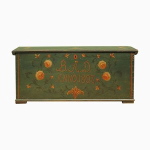 Antique Painted Folk Art Coffer with Dome Top