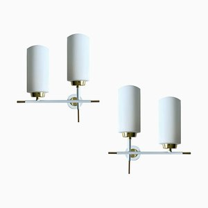 Vintage Sconces in White Brass & Opaline Glass, 1960s, Set of 2