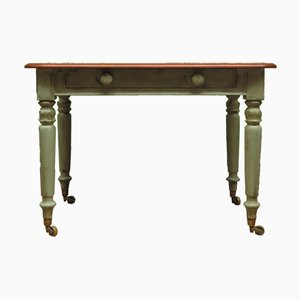 Antique Writing Table with Painted Duck Egg Blue Base and Drawer