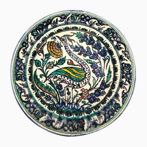 Glazed Ceramic Dish with Multicolored Decoration by Mouche Chemla, Tunisia, 1950s