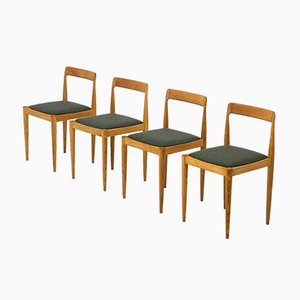 Vintage Solid Ash Wood Dining Chairs, Set of 4