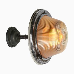 Vintage Industrial Striped Glass & Cast Iron Wall Lamp
