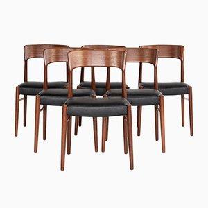 Mid-Century Chairs in Teak by Henning Kjaernulf for Korup Stolefabrik, Set of 6
