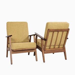 Midcentury Danish Easy Chairs in Oak and Teak, 1960s, Set of 2