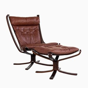 Falcon Chair and Ottoman in Cognac Leather by Sigurd Ressell for Vatne Möbler, Set of 2