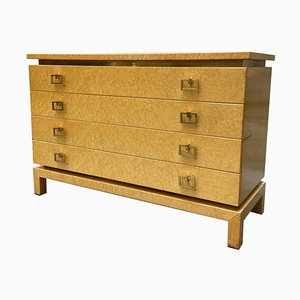 Chest of Drawers in Briar Wood with Brass Handles and Profiles, Italy, 1970s