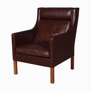 Modell 2431 Sessel aus braunem Leder von Børge Mogensen für Fredericia