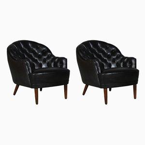 Club chair in pelle nera, Danimarca, anni '40, set di 2