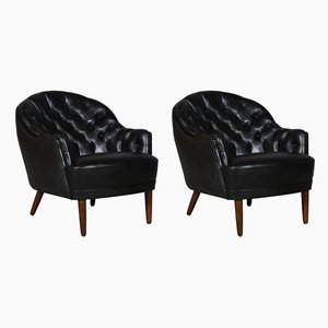Danish Cabinetmaker Club Chair in Black Leather, 1940s, Set of 2