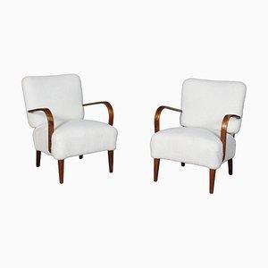 Danish Cabinetmaker Lounge Chairs in Lambskin, 1940s, Set of 2
