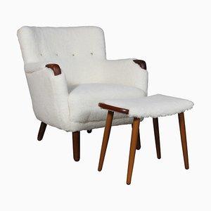 Dänischer Sessel & Fußhocker, 1940er, 2er Set