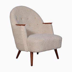 Danish Lounge Chair in Lambswool, 1940s