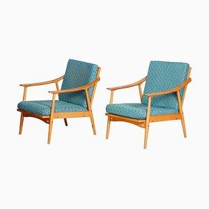 Blaue Buchenholz Armlehnstühle, 1950er, 2er Set