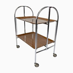 Chrome and Plywood Folding Serving Trolley, 1950s