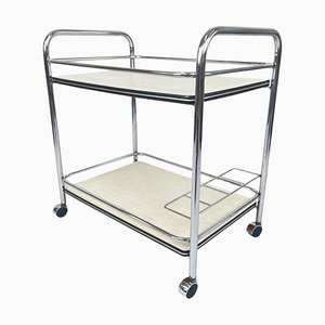Vintage Chrome and Plywood Serving Cart, 1980s