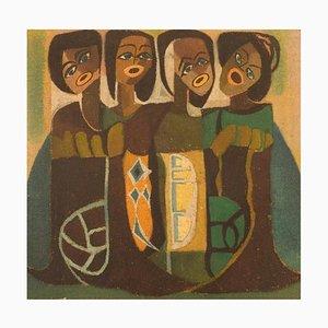 Scandinavian Artist, Oil on Textile, Singing Women, Mid-20th Century