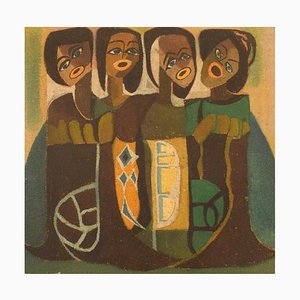 Skandinavischer Künstler, Öl auf Textil, Singende Frauen, Mitte 20. Jh