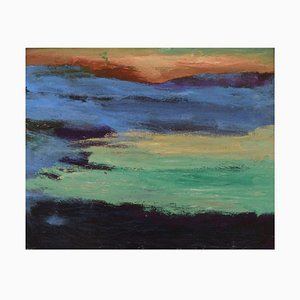 Scandinavian Oil on Canvas, Abstract Composition, 1980s