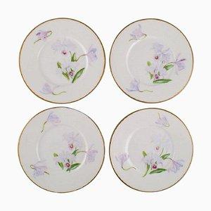 Antike Royal Copenhagen Teller aus Porzellan mit Irisblumen, 4er Set