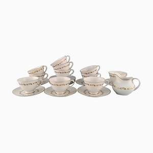 Fairfax Teacups with Saucers and a Cream Jug from Royal Doulton, England, Set of 25