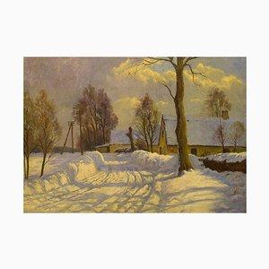 Danish Painter, Oil on Canvas, Winter Landscape with Farm, 1920s