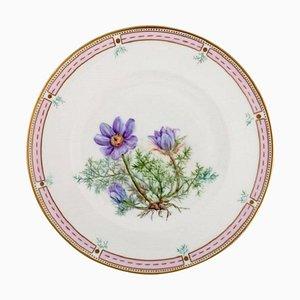 Piatto in porcellana dipinta a mano con decorazione floreale e dorata di Bing & Grøndahl