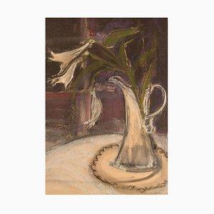 Kerstin Jönsson, Suède, Pastel sur Papier, Lys dans un Pichet