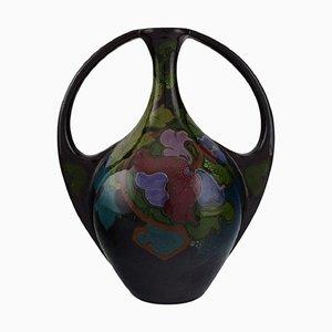Antike Jugendstil Vase mit handbemalten Blumen und Blattwerk