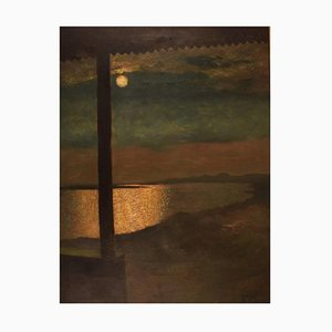 Hugo Vilfred Pedersen, Denmark, Oil on Canvas, Landscape with Moon