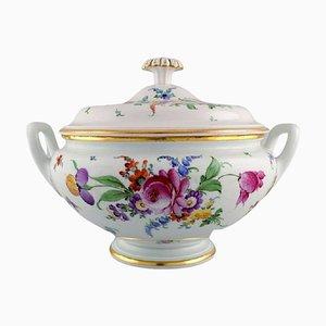 Große antike Meissen Suppenterrine aus Porzellan mit handbemalten Blumen