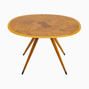 Mid-Century Swedish Coffee Table with Elm Root Inlay by David Rosén