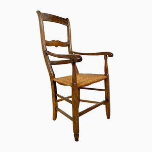 Antique Oak Armchair with Cane Seat, 19th Century