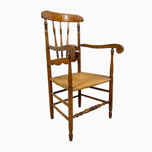 Antique Oak and Elm Wooden Armchair with Cane Seat