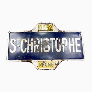 Vintage French Enamel Village Road Sign of St. Christophe, Rhone