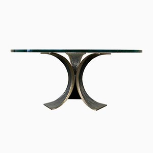 Brutalist Bronze and Glass Coffee Table, 1960s