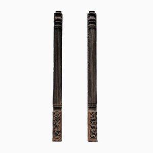 Antique Handcarved Columns, Set of 2