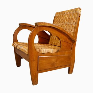 British Colonial Rattan and Wood Art Deco Armchair, India, 1920s