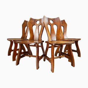 Brutalist Chairs in Patinated Oak, Belgium, 1960s, Set of 4