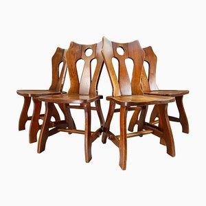 Brutalistische Stühle aus patinierter Eiche, Belgien, 1960er, 4er Set
