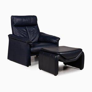 Laauser Sessel & Hocker aus blauem Leder, 2er Set