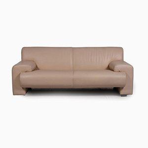 Machalke Cream Leather Sofa