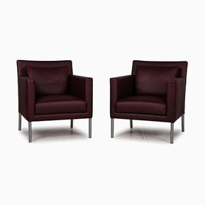 Jason Dark Red Leather Armchair from Walter Knoll / Wilhelm Knoll, Set of 2