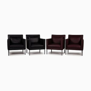 Black and Dark Red Living Room Set from Walter Knoll / Wilhelm Knoll, Set of 4