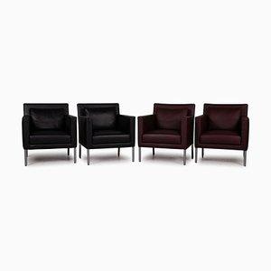 Set da salotto nero e rosso scuro di Walter Knoll / Wilhelm Knoll, set di 4