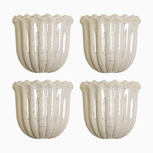 Tulip Shaped Wall Sconce in Opal Clear Textured Glass and Brass from Doria