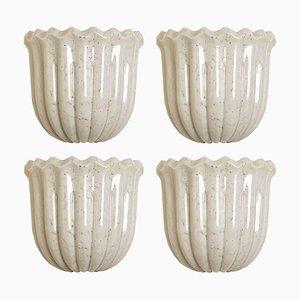 Tulpenförmige Wandleuchte aus Opalglas und Messing von Doria