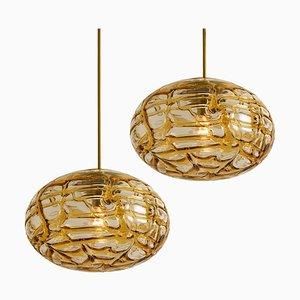 Lampe à Suspension en Verre de Murano Ambré, 1960s, Set de 2